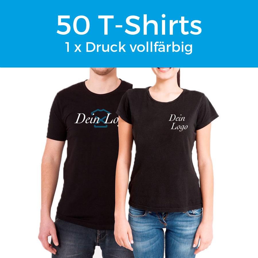 pretty nice 05e79 aa8ec T-Shirt Damen / Herren Schwarz inkl. 1 x Druck – 50 Stk.